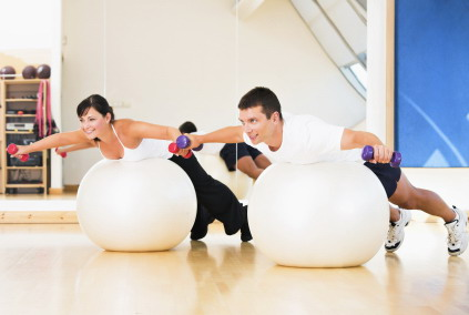 core strength and balance home exercise ball workout for
