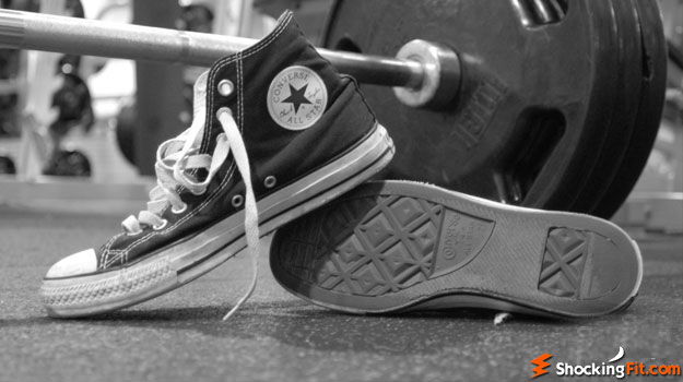 converse shoes in the gym